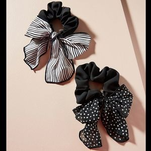 Anthropologie Set Sail Scarf Hair Tie Set - Noir